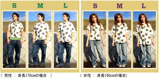 和柄アロハシャツ サイズの感じはこんな感じになります
